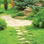Мощение камнем: грунтовая дорожка, гравийная дорожка, мощение в газоне